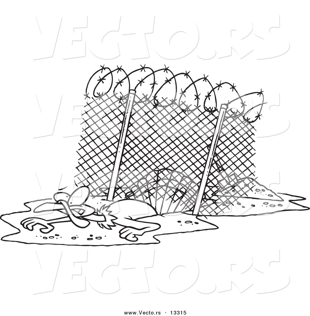 Vector of a Cartoon Turkey Bird Escaping Under an