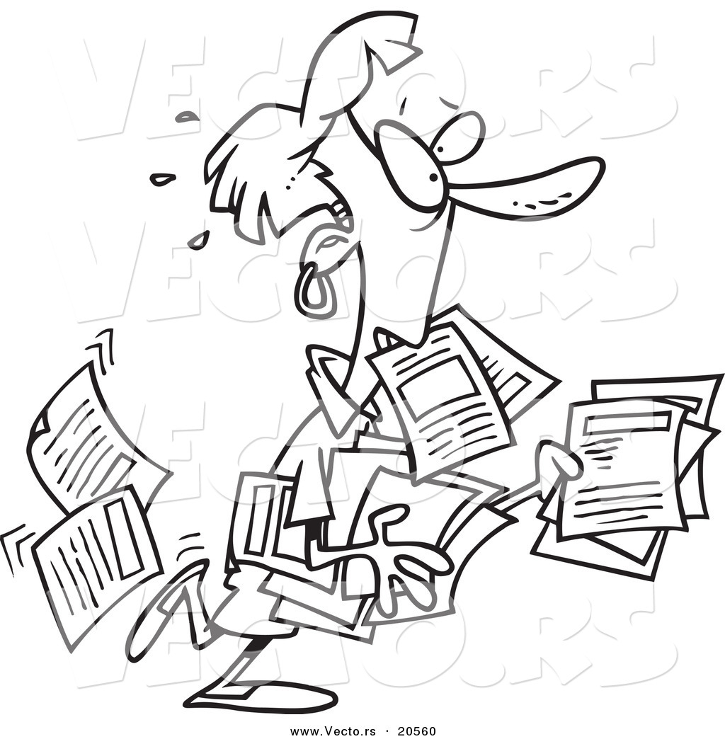 Vector of a Cartoon Unorganized Woman Carrying Forms