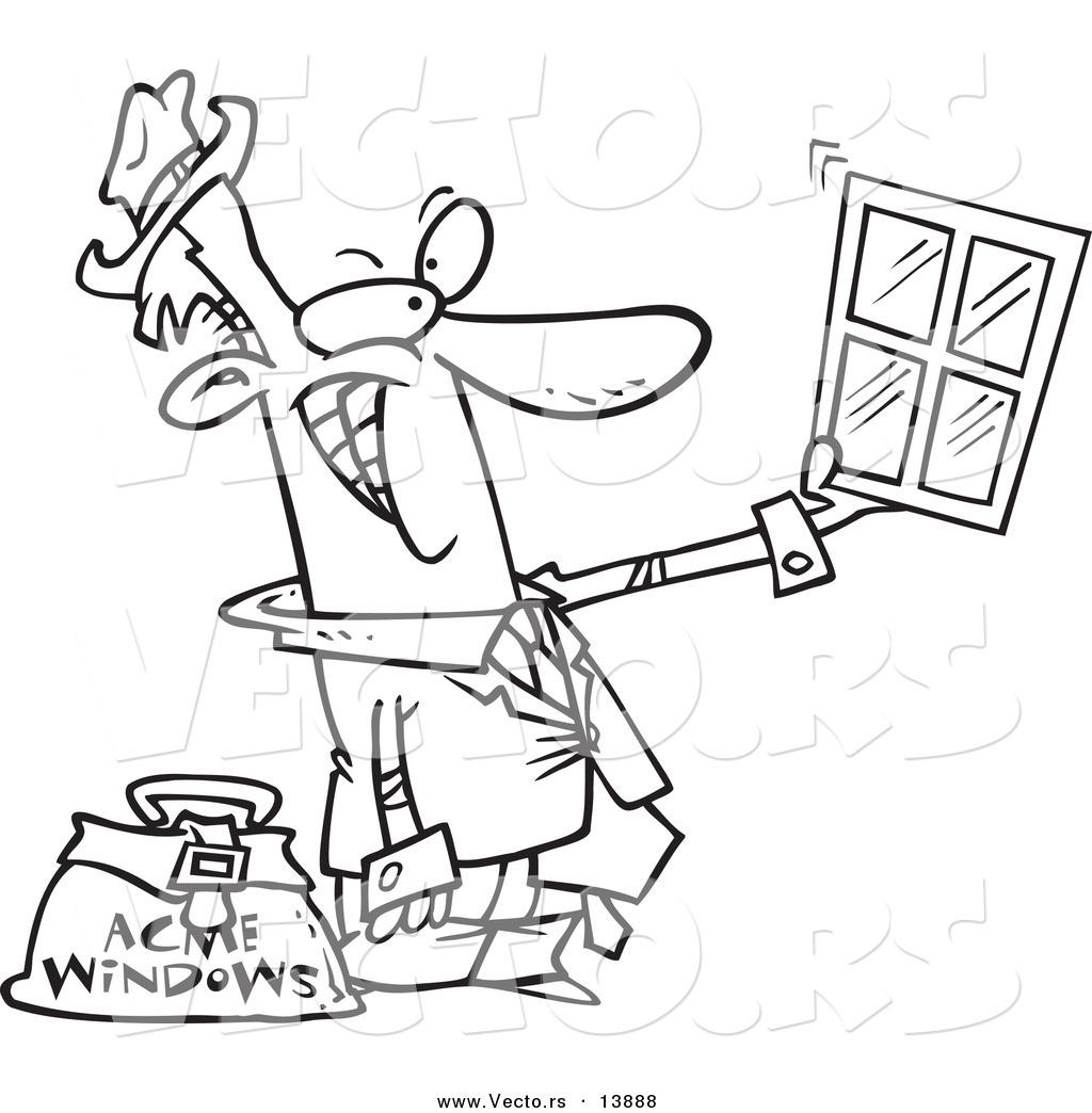 Vector of a Cartoon Window Salesman Holding up a Window