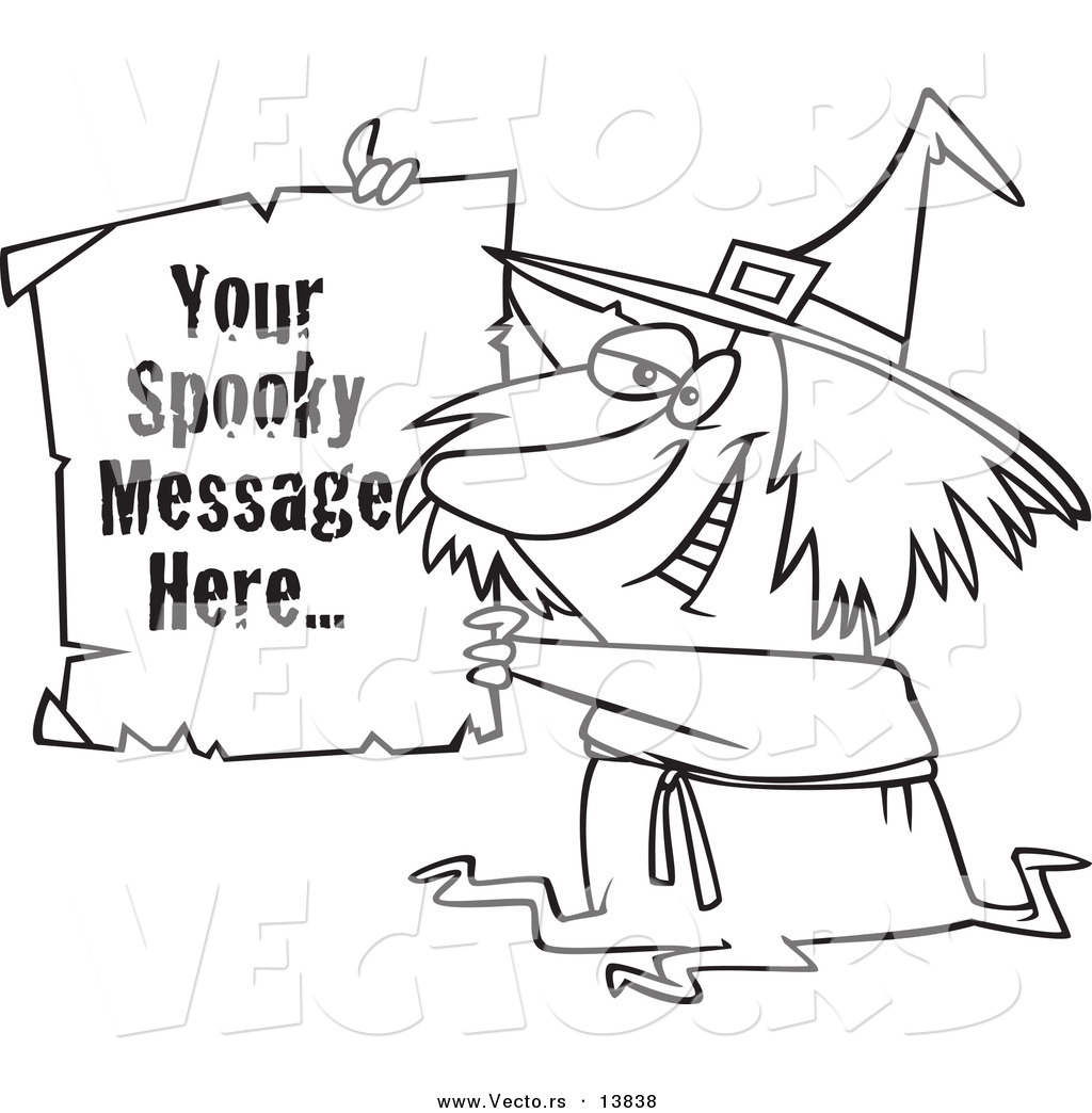 Vector of a Cartoon Witch Holding up a Piece of Paper with