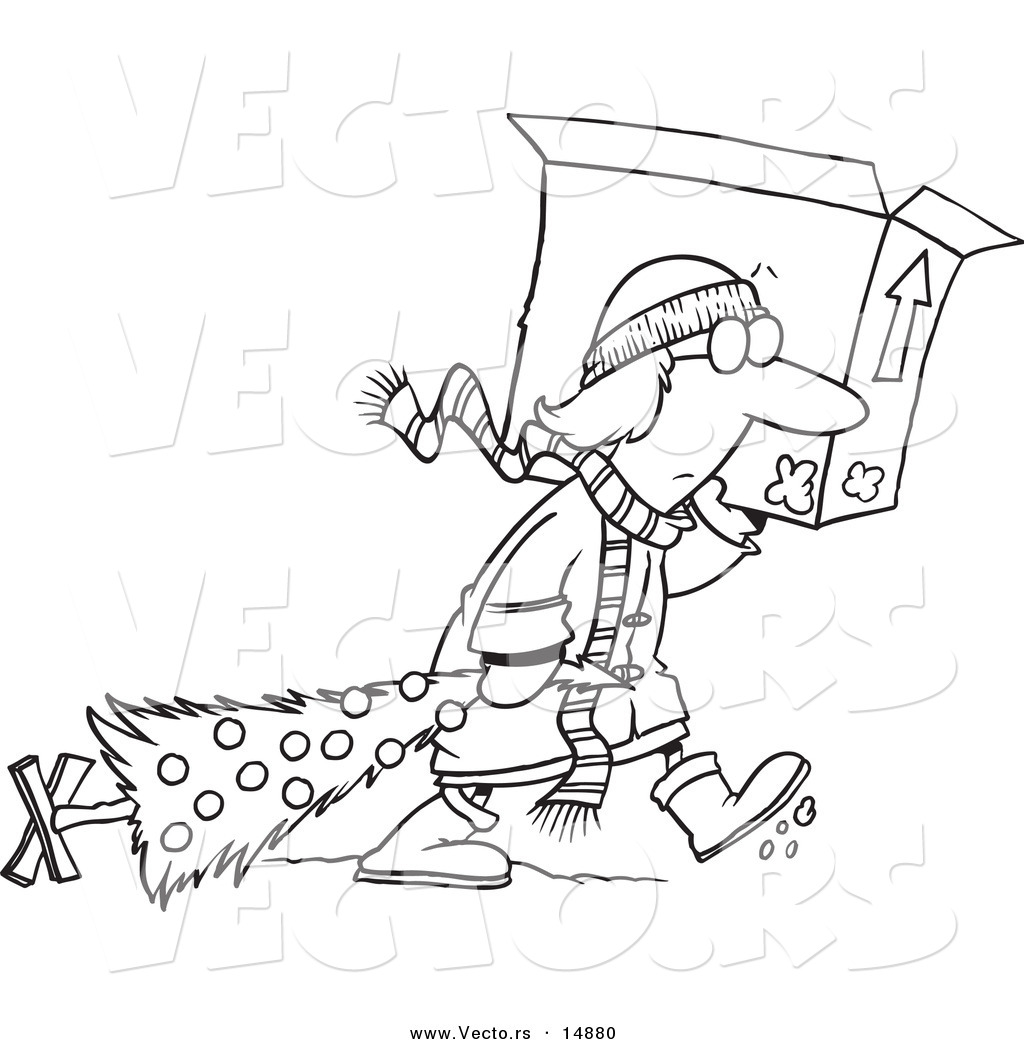 Vector of a Cartoon Woman Carrying a Moving Box and