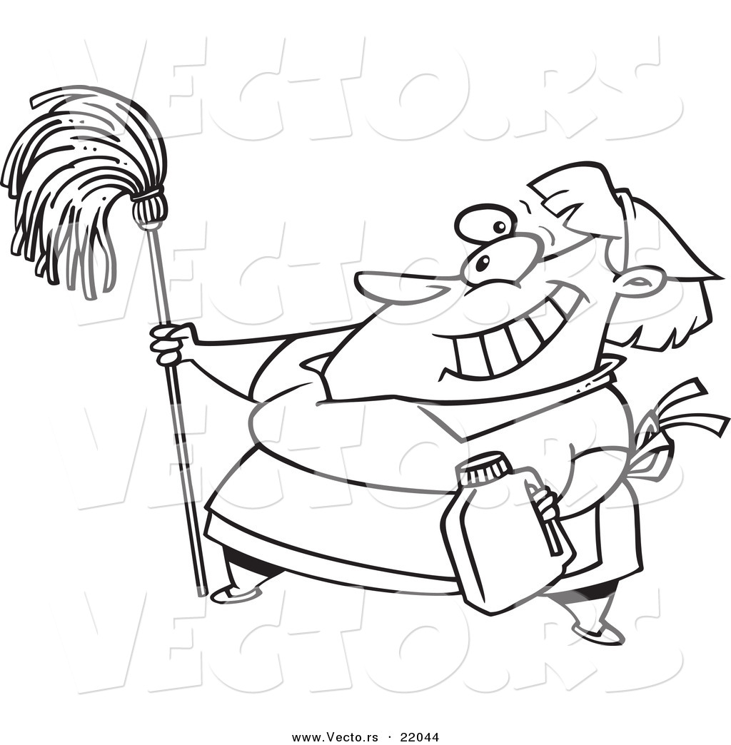Vector Of A Cartoon Woman Cleaning