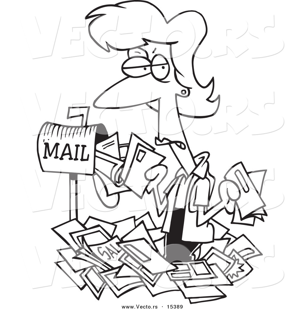Vector of a Cartoon Woman Overwhelmed with Junk Mail
