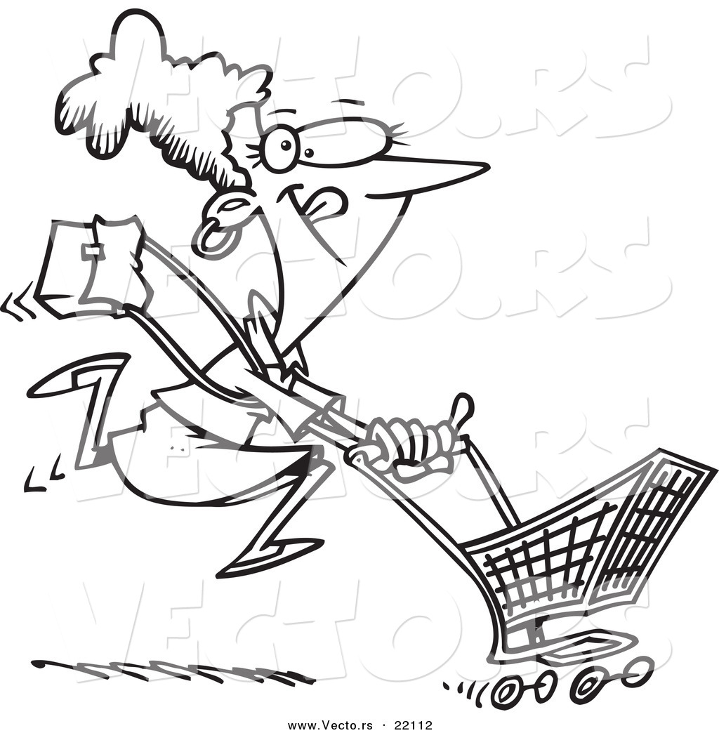 Shopping Cart Clip Art Free Sketch Coloring Page