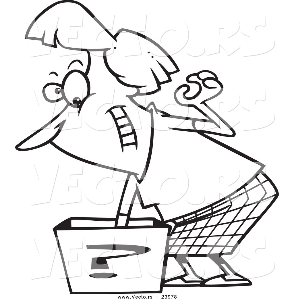 Vector of a Cartoon Woman Reaching in a Surprise Box