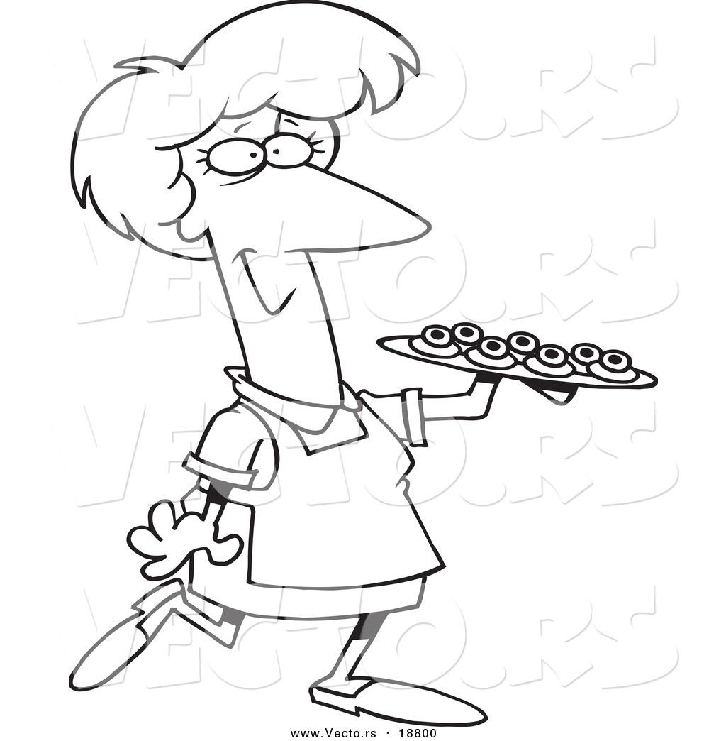 Vector Of A Cartoon Woman Serving Finger Foods