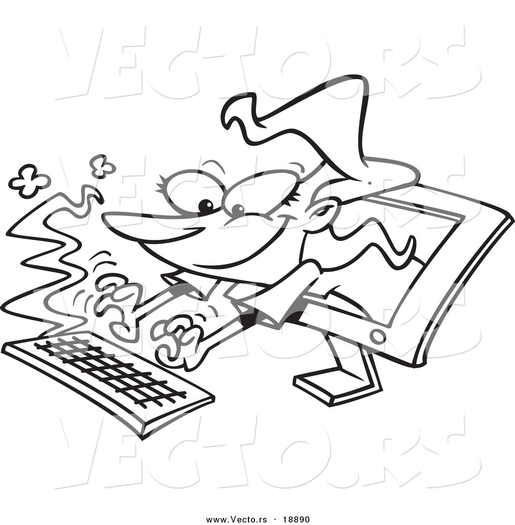 Vector of a Cartoon Woman Typing from a Computer Screen