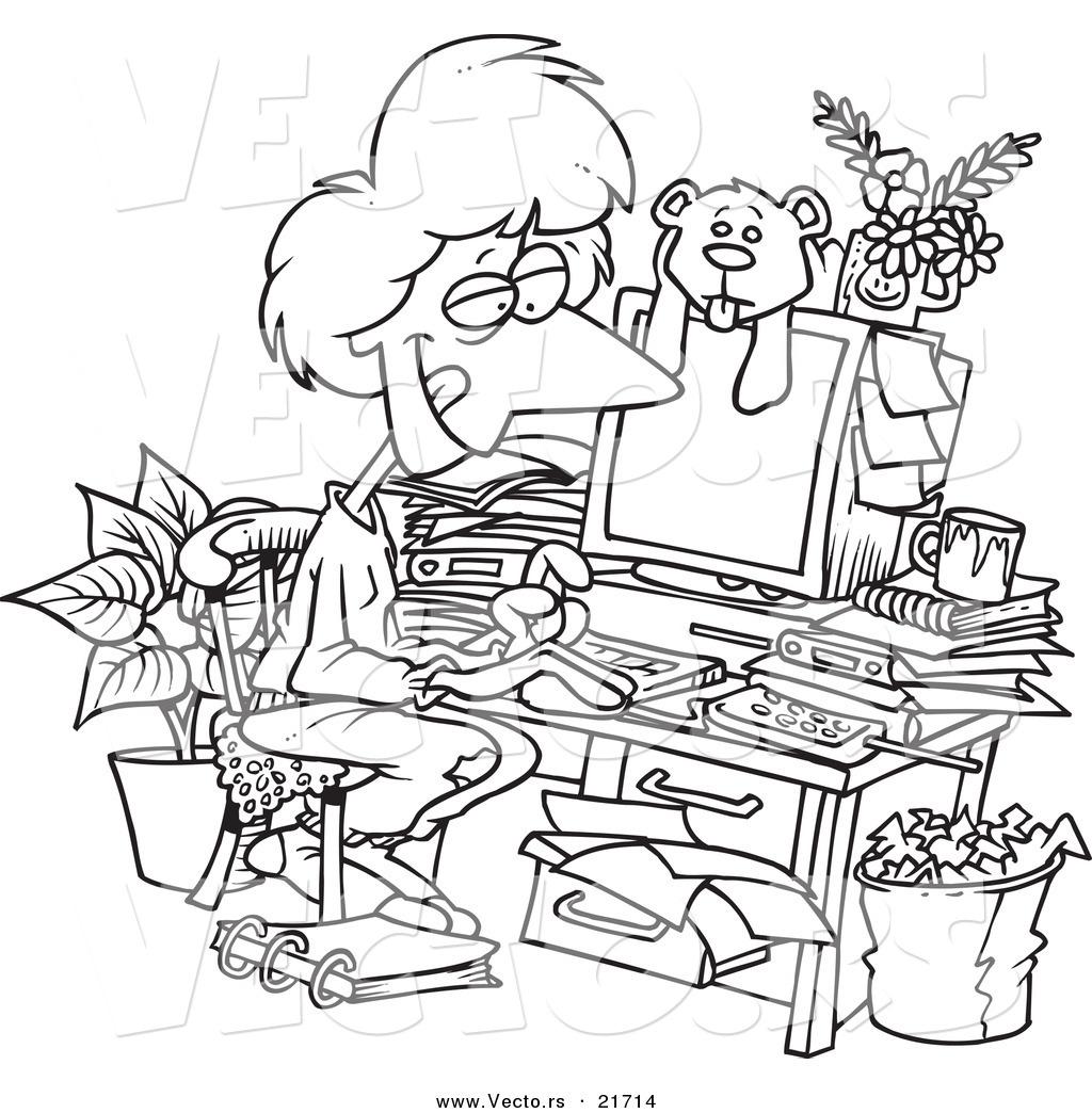 Vector Of A Cartoon Woman Working In Her Pjs In Her