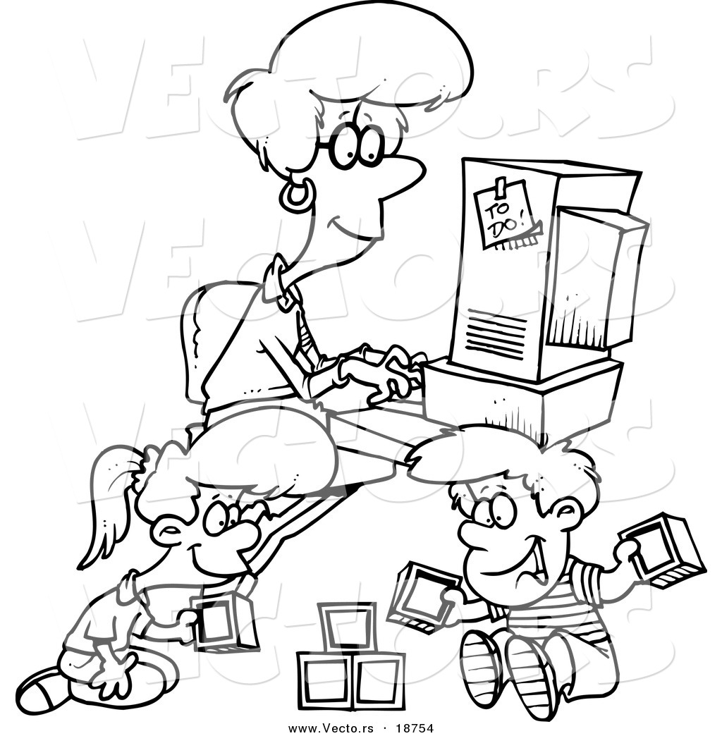 Vector of a Cartoon Woman Working on Her Computer As Her