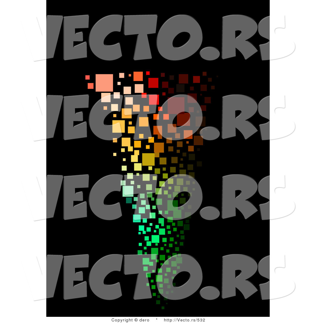 Vector of a Colorful Tornado on a Black Background