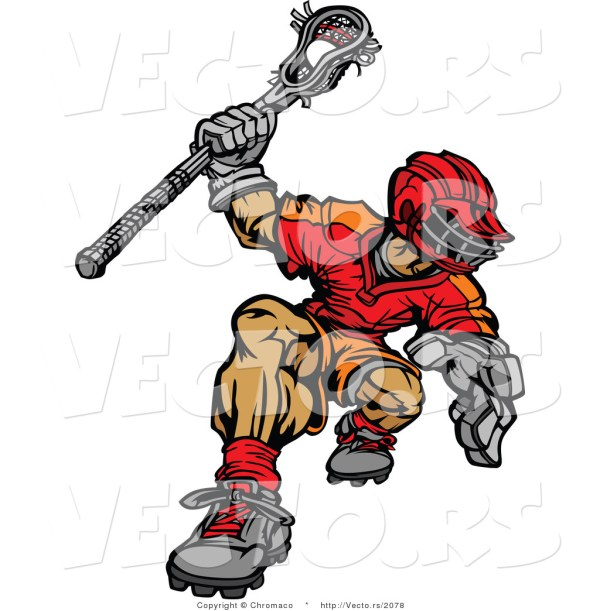 Vector Of Competitive Cartoon Lacrosse Player