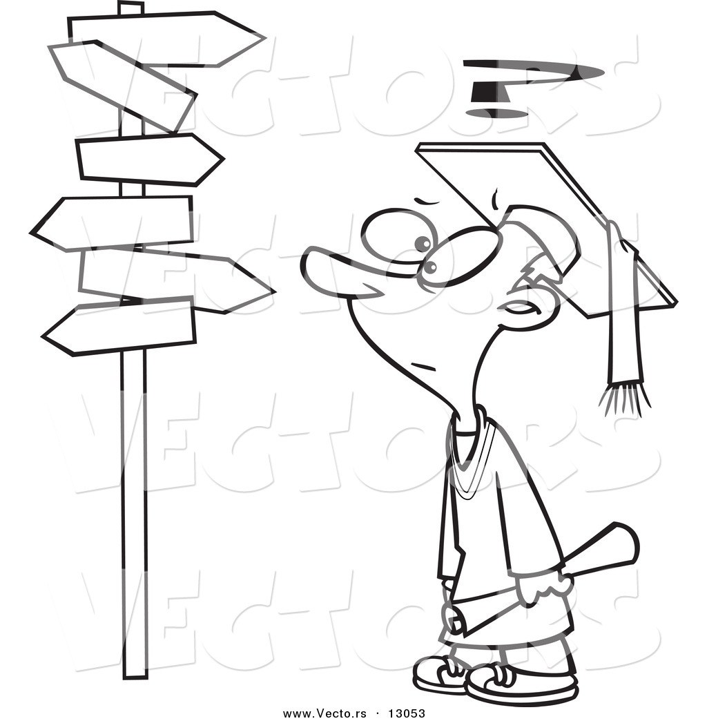 Vector of a Confused Cartoon Graduate Boy Looking at Post