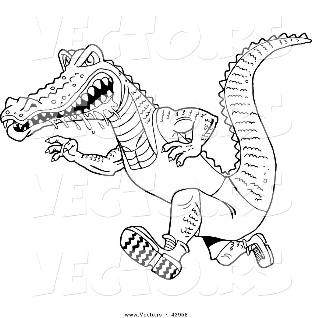 Vector of a Drooling Cartoon Alligator Running Fast