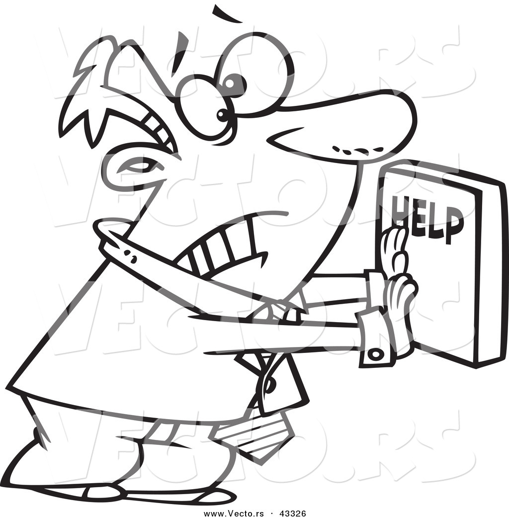 Vector Of A Frantic Cartoon Businessman Pushing A Big Help Button
