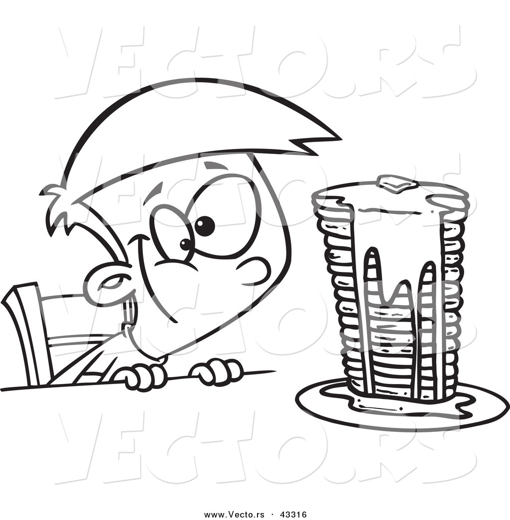 Vector Of A Happy Cartoon Boy Staring At A Stack Of