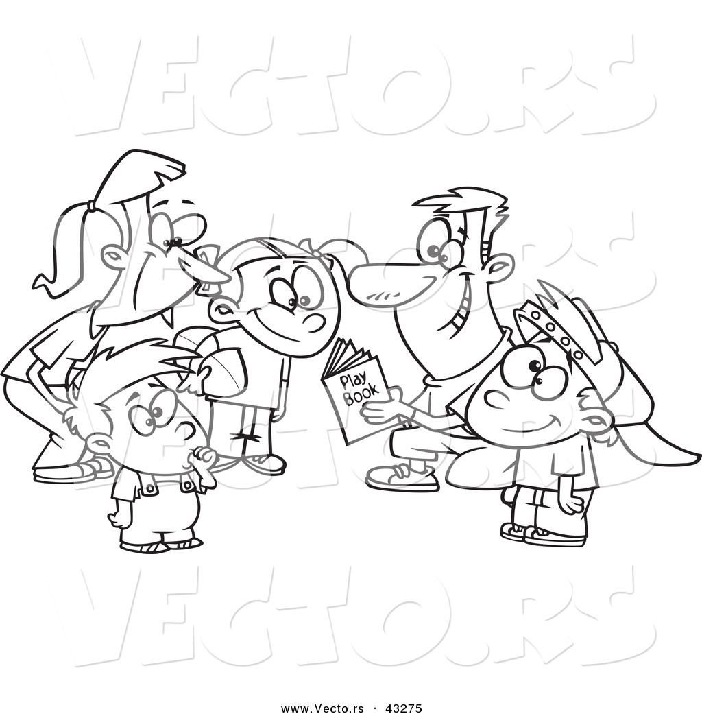Vector of a Happy Cartoon Family Huddling Together While