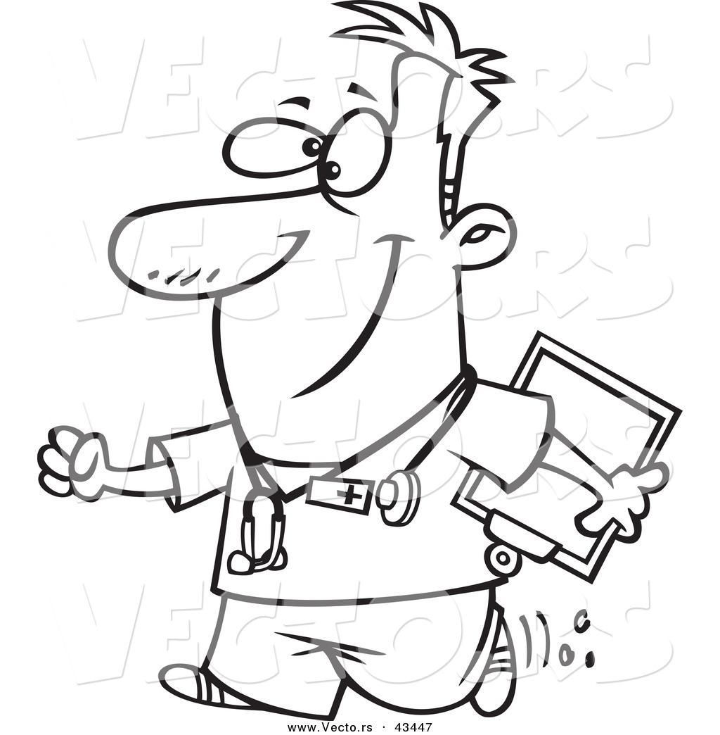 Vector Of A Happy Cartoon Male Nurse Carrying A Clipboard