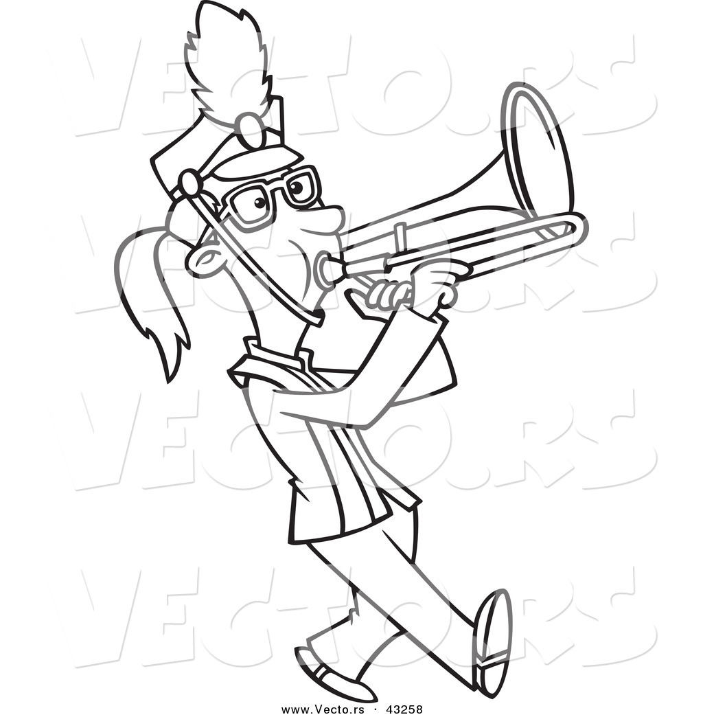 Vector Of A Marching Cartoon Girl Playing A Trombone