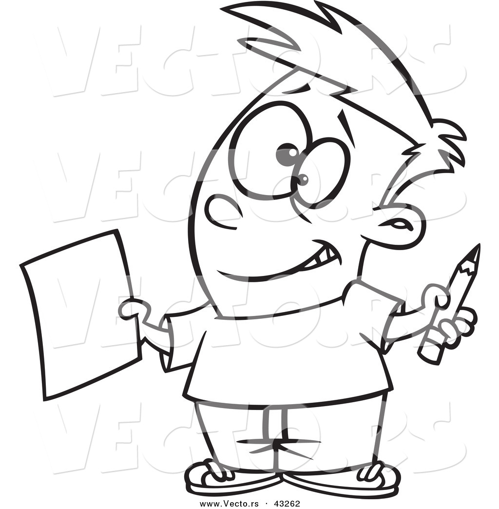 Vector of a Nervous Cartoon Boy Holding out a Sheet of