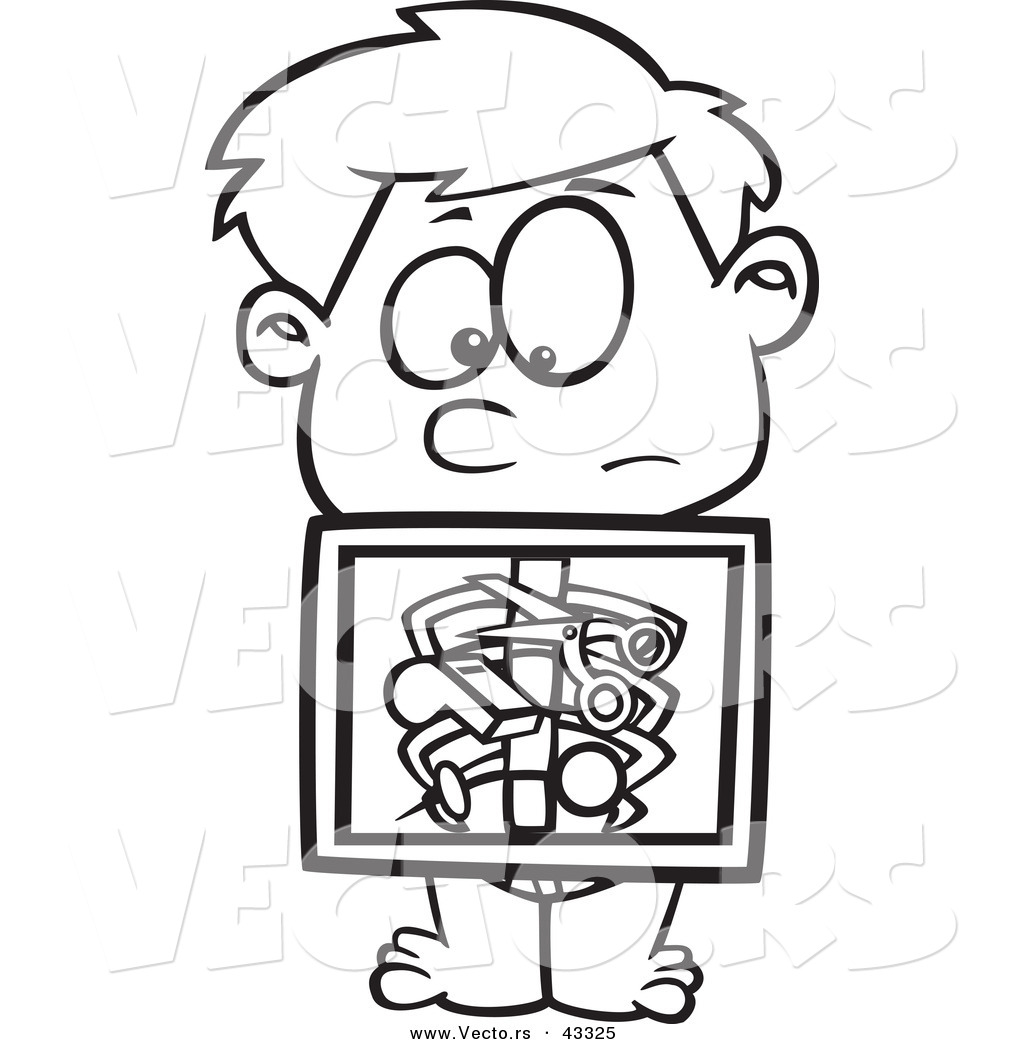 Vector Of A Nervouse Cartoon Boy Holding X Ray Showing