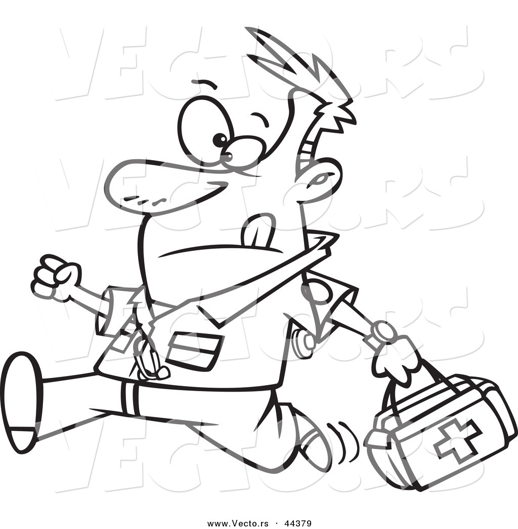 Vector of a Running Cartoon Male EMT with a First Aid Kit