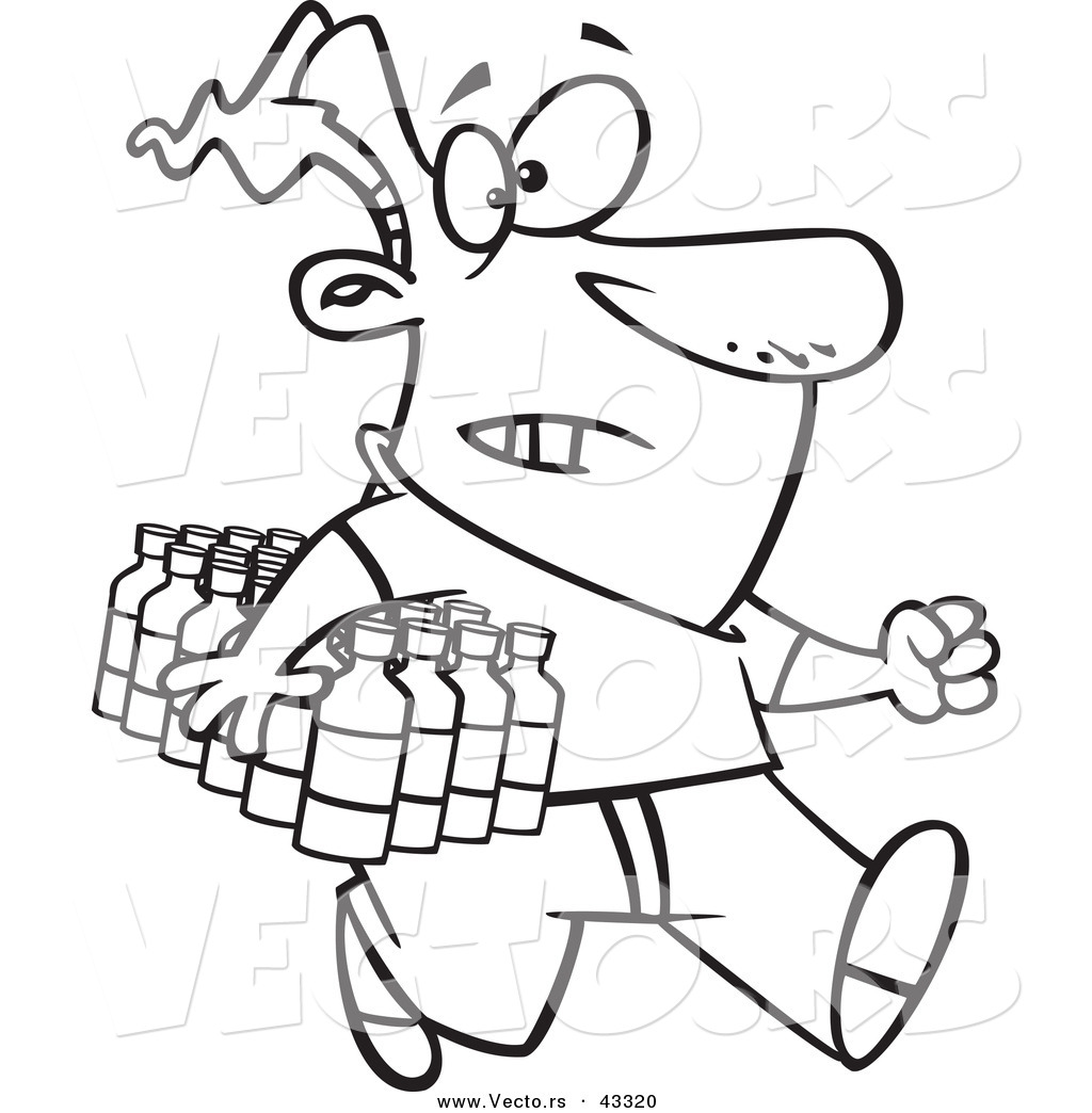 Vector of a Rushing Cartoon Man Carrying a Flat of Bottled