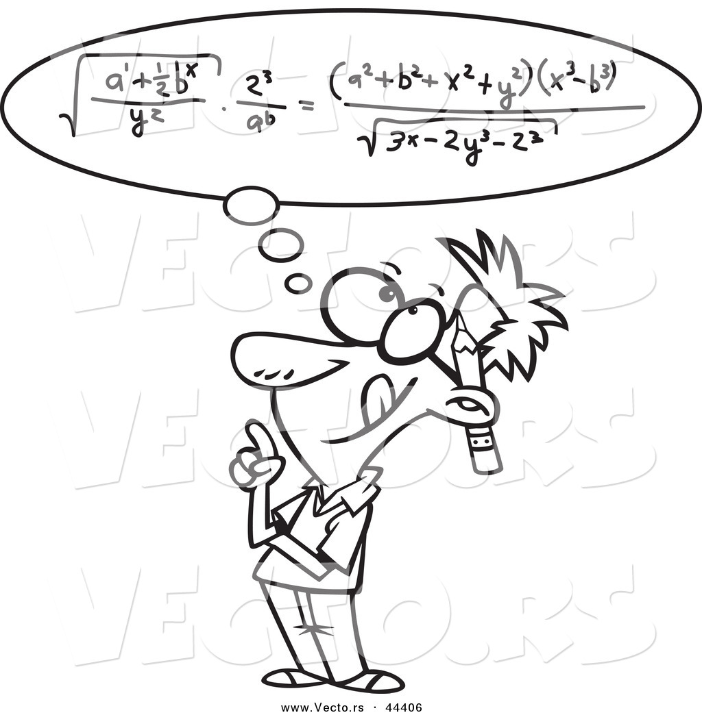 Vector of a Smart Cartoon Man Figuring a Math Equation in