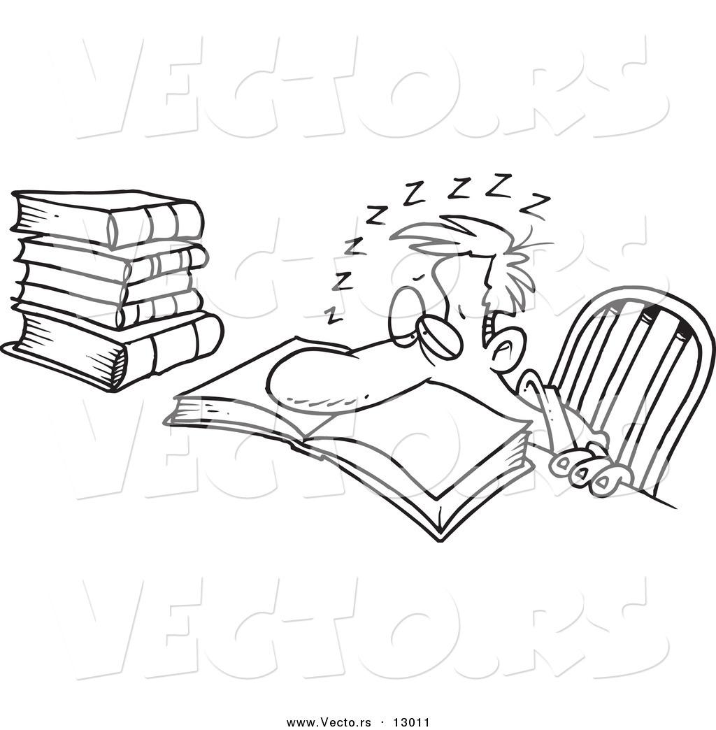 Vector Of A Tired Cartoon Man Sleeping Over His School