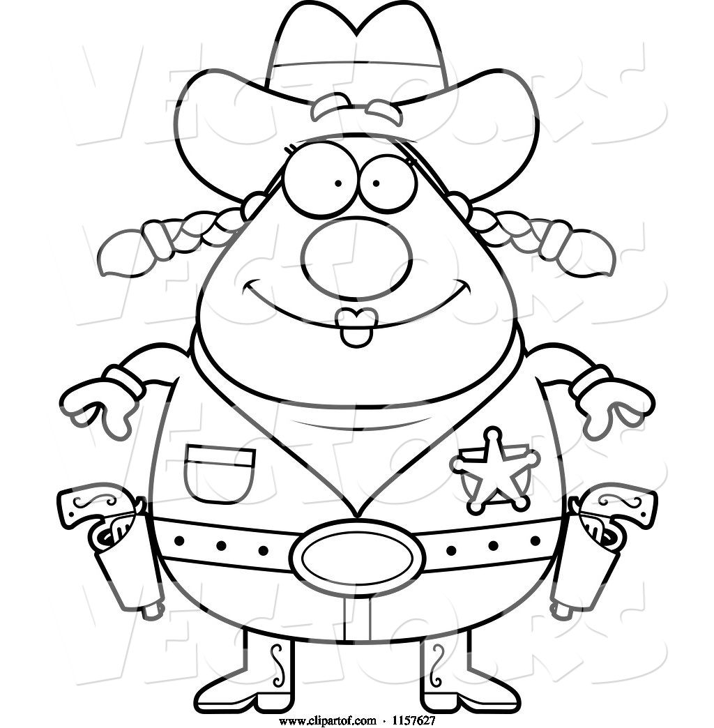 Vector Of Cartoon Black And White Chubby Female Cowgirl