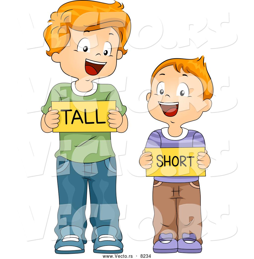Vector Of Happy Cartoon School Boys Holding Tall And