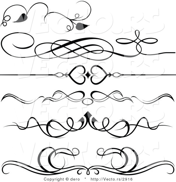 Vector of 6 Unique Black and White Ornate Rules and