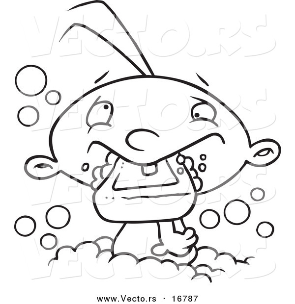 Vector of a Cartoon Baby Boy Eating Soap in the Bath Tub