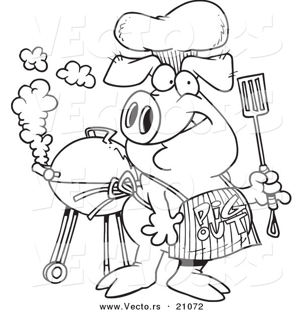 Vector of a Cartoon Bbq Pig Wearing a Pig out Apron