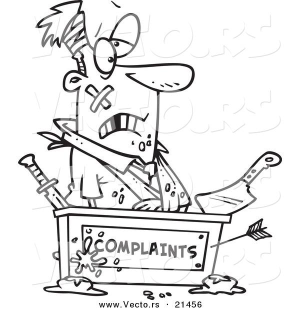 Vector of a Cartoon Beat up Businessman at a Complaints