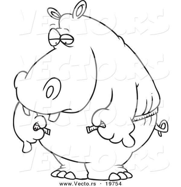 Vector of a Cartoon Big Hippo Measuring His Waist with a