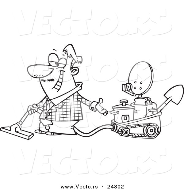 Vector of a Cartoon Black and White Outline Male Inventor