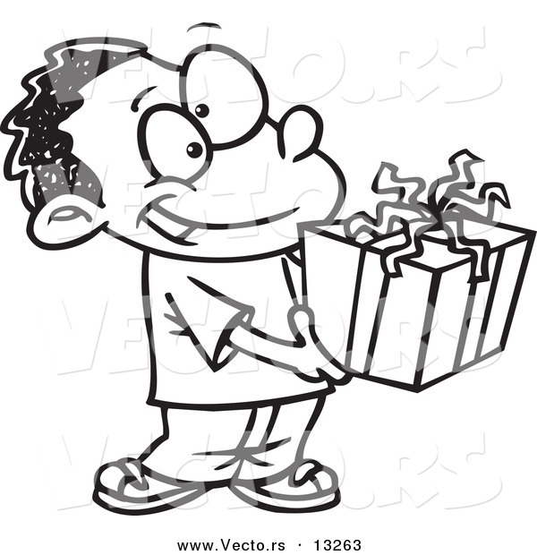Vector of a Cartoon Black Boy Holding a Gift Box