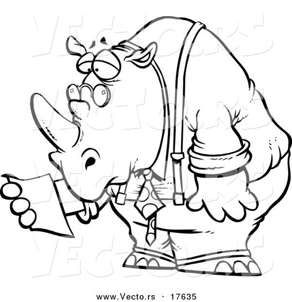 Vector of a Cartoon Business Rhino Reading a Memo