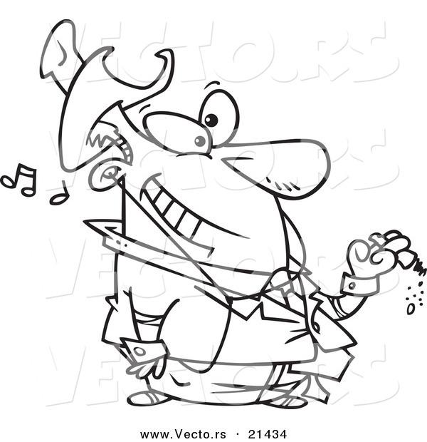 Vector of a Cartoon Businessman Smoking a Cigar and
