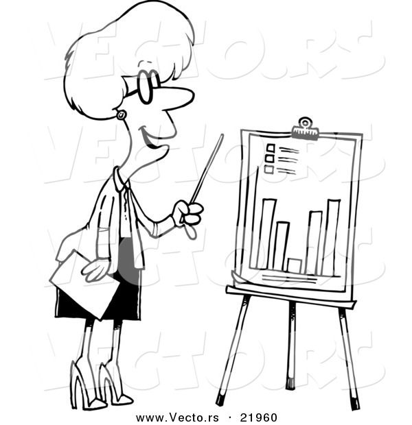 Vector of a Cartoon Businesswoman Presenting a Bar Graph