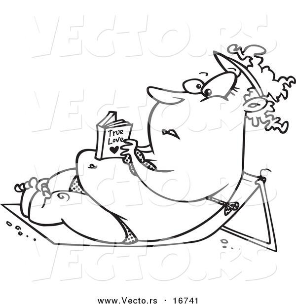 Vector of a Cartoon Chubby Girl Reading a Romance Novel