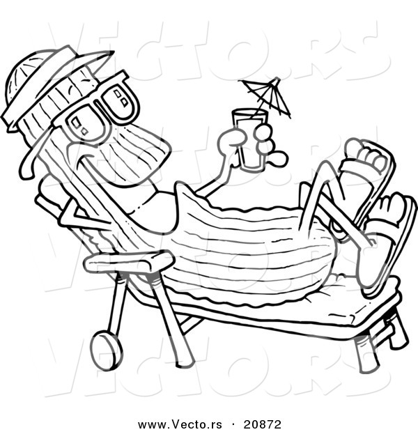 Vector of a Cartoon Cool Cucumber in a Lounge Chair