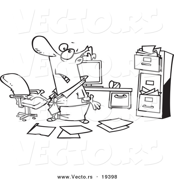 Vector of a Cartoon Disorganized Businessman in a Messy