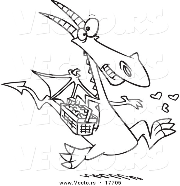 Download Vector of a Cartoon Dragon Spreading Love - Coloring Page ...