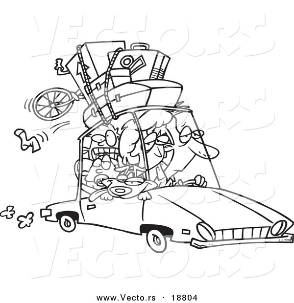 Vector of a Cartoon Exhausted Family Homeward Bound from a