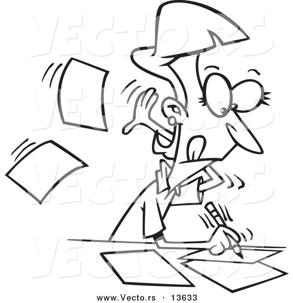 Vector of a Cartoon Fast Author Writing on Pages