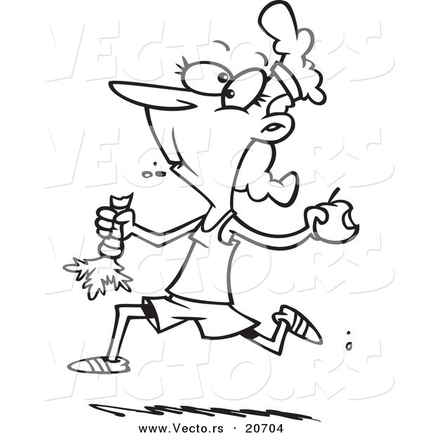 Vector of a Cartoon Female Jogger Eating Her Fruits and