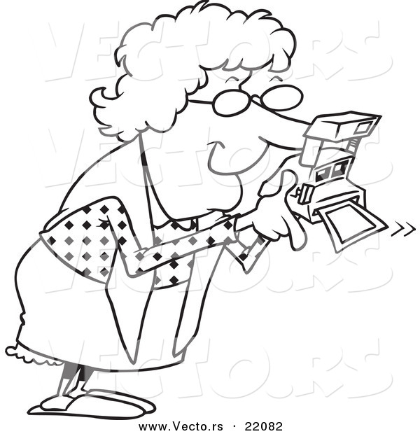 Vector of a Cartoon Granny Using a Polaroid Camera
