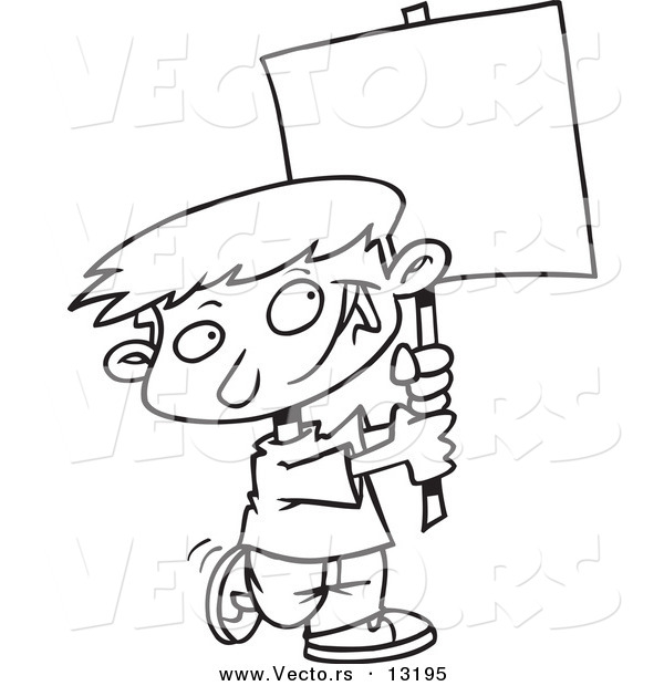 Vector of a Cartoon Happy Boy Advertising with a Blank