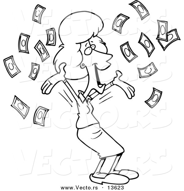 Vector Of A Cartoon Happy Businesswoman With Falling Cash